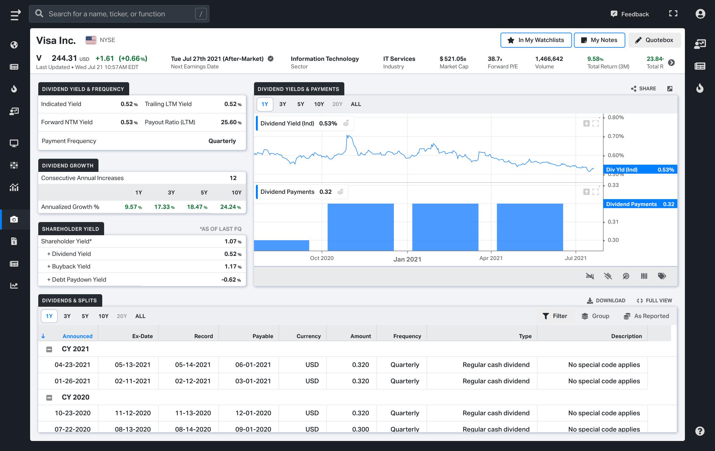 Koyfin release 3.5 - New dividend snapshot available
