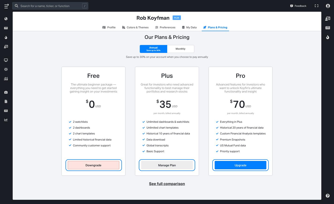 Subscription plan downgrade on Koyfin